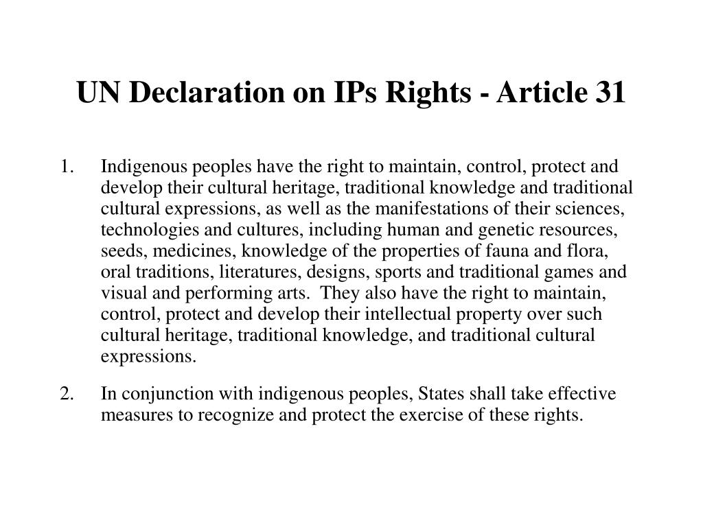 UN Declaration on IPs Rights - Article 31