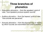 three branches of phonetics