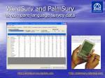 wordsurv and palmsurv to compare language survey data