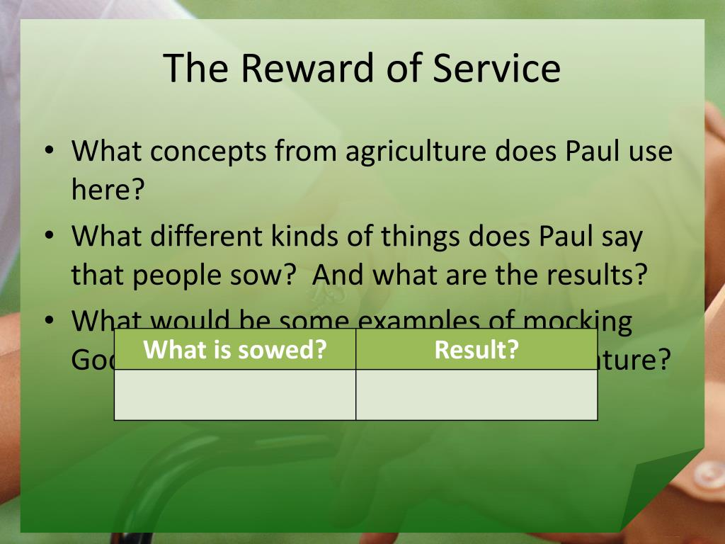 The Reward of Service