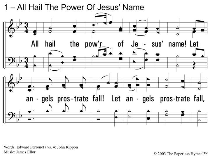 1 all hail the power of jesus name n.
