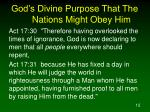 god s divine purpose that the nations might obey him12