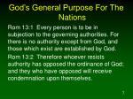 god s general purpose for the nations