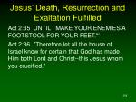 jesus death resurrection and exaltation fulfilled23
