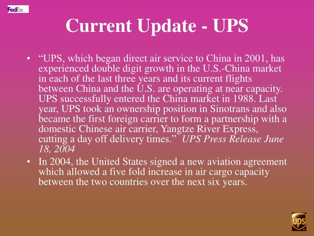 Current Update - UPS