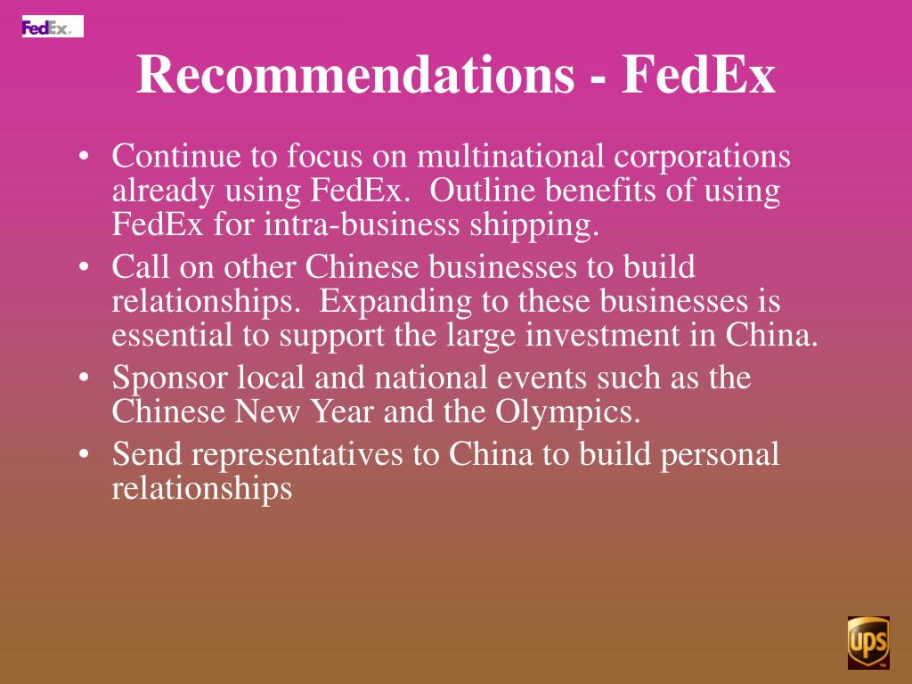 Recommendations - FedEx