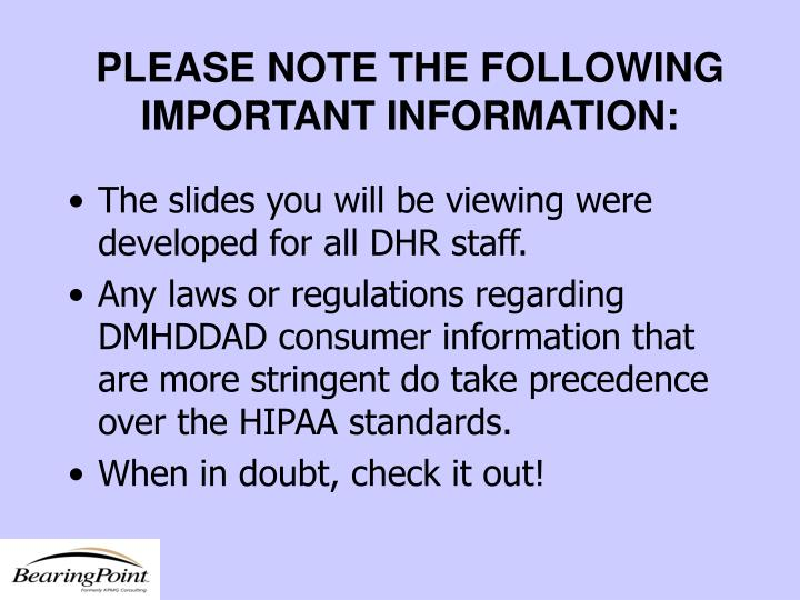 Please note the following important information
