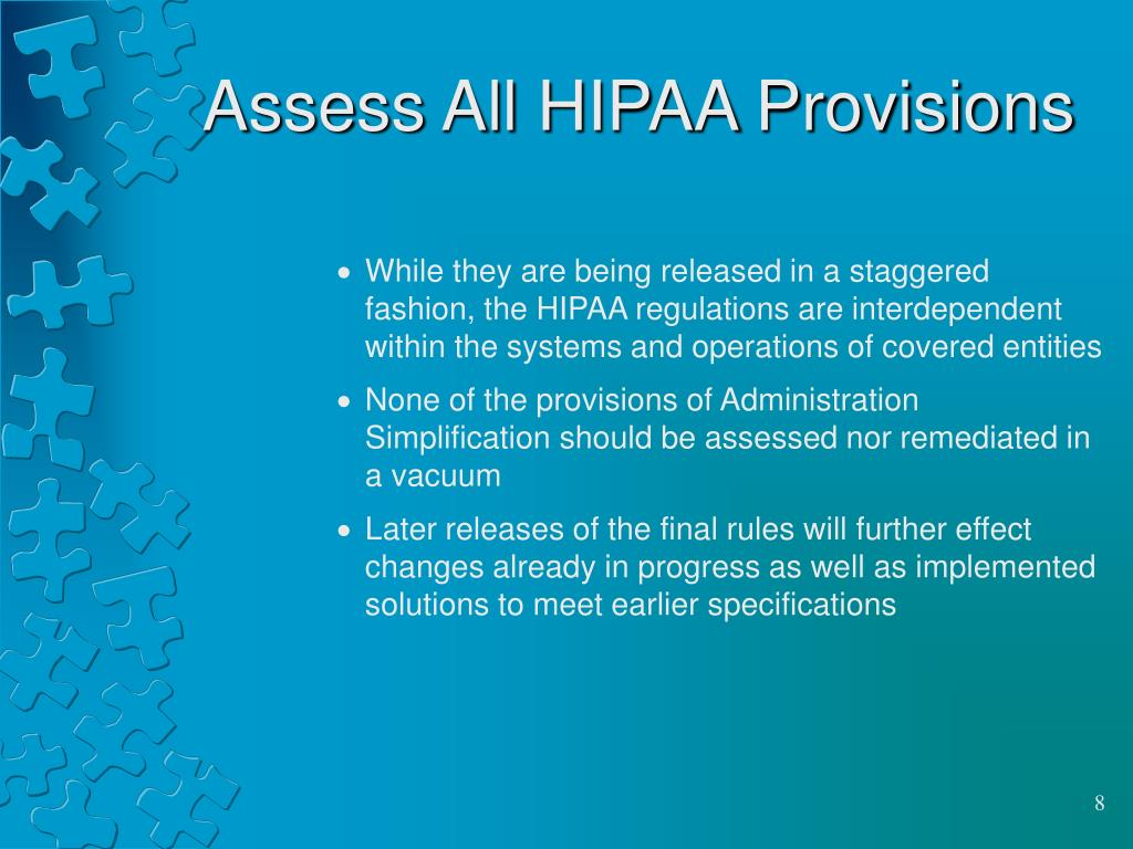 Assess All HIPAA Provisions