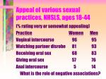 appeal of various sexual practices nhsls ages 18 44