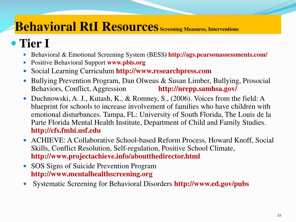 Behavioral RtI Resources