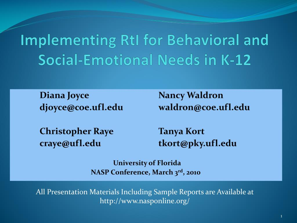 Implementing RtI for Behavioral and Social-Emotional Needs in K-12