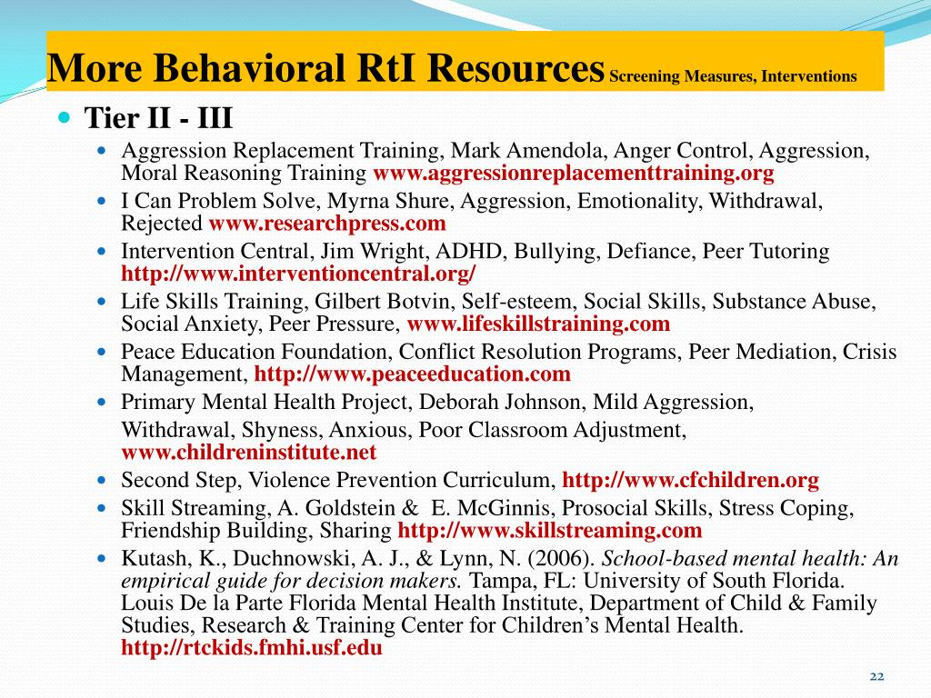 More Behavioral RtI Resources