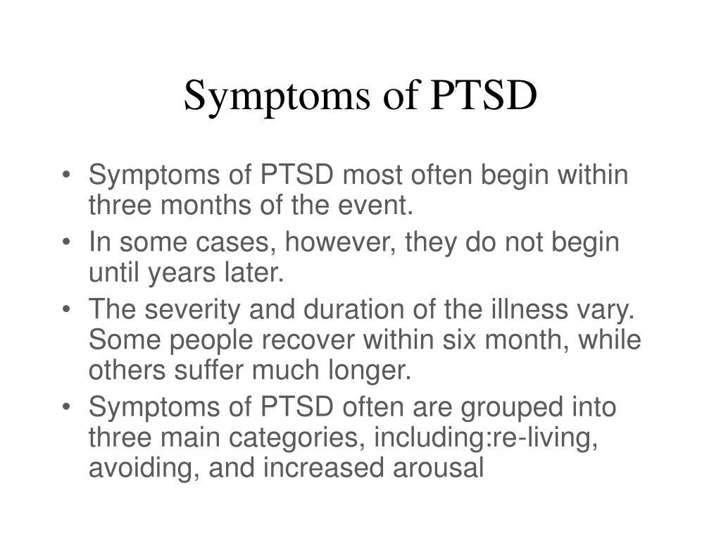 Symptoms of PTSD