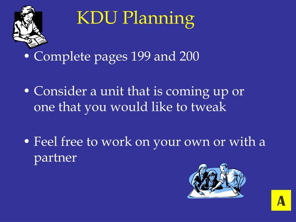 KDU Planning