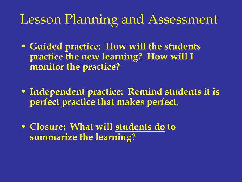 Lesson Planning and Assessment