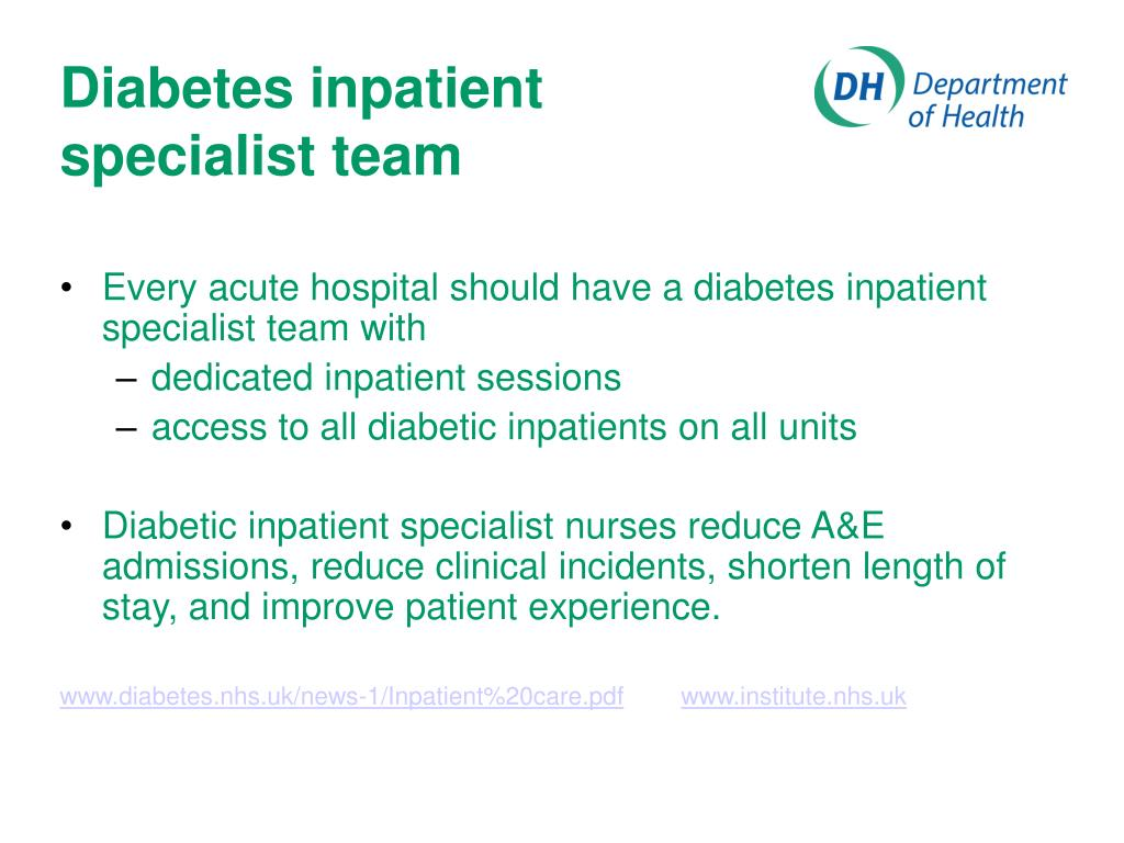 Diabetes inpatient specialist team