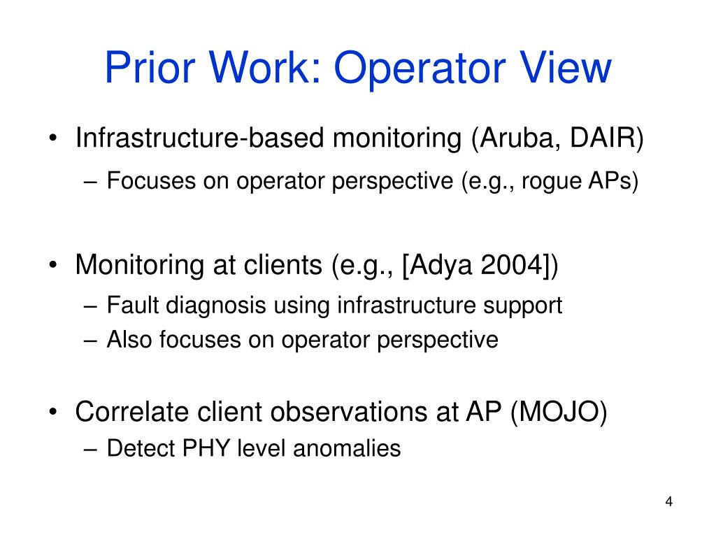 Prior Work: Operator View
