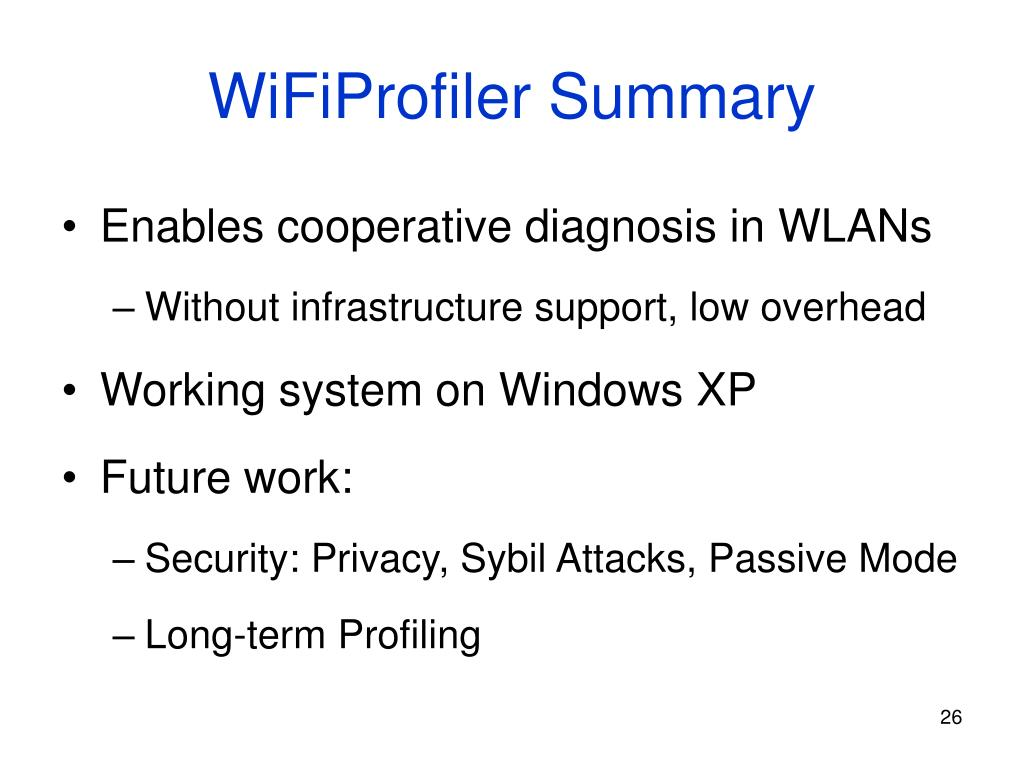 WiFiProfiler Summary