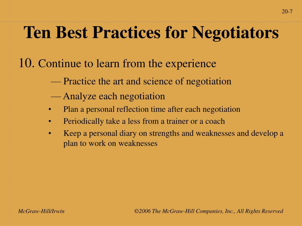 Ten Best Practices for Negotiators