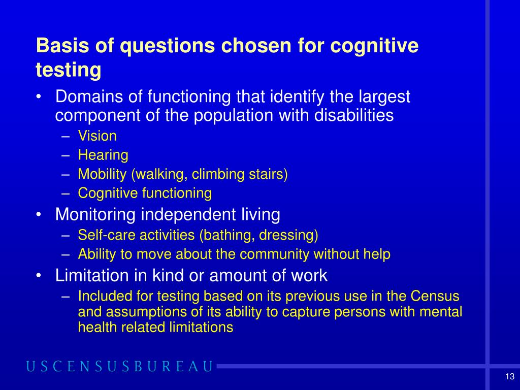 Basis of questions chosen for cognitive testing