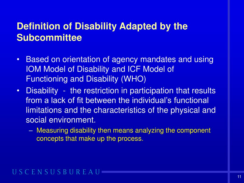 Definition of Disability Adapted by the Subcommittee