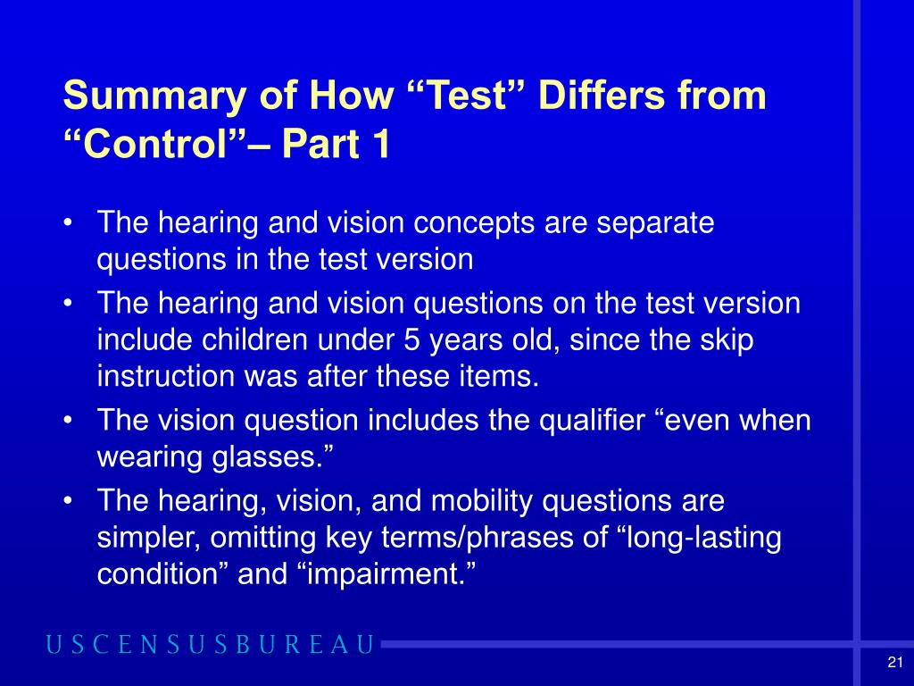 "Summary of How ""Test"" Differs from ""Control""– Part 1"