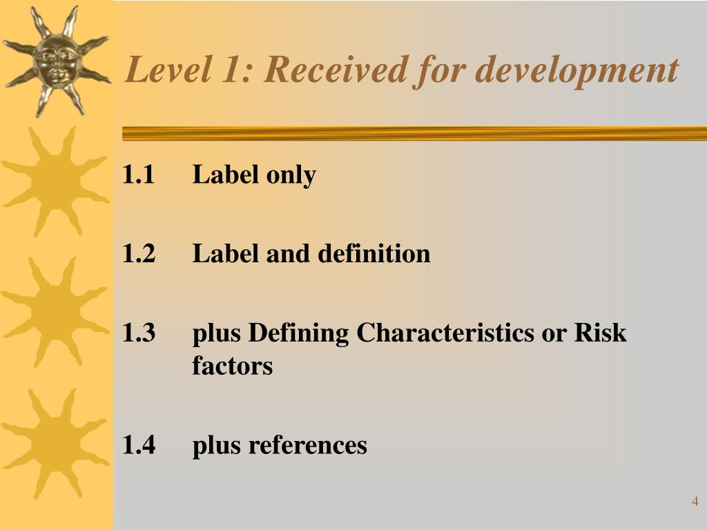 Level 1: Received for development