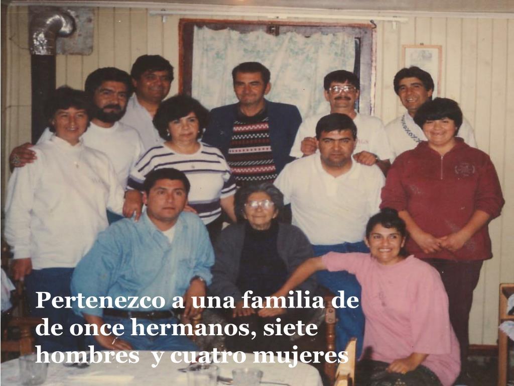 Pertenezco a una familia de  de once hermanos, siete hombres  y cuatro mujeres