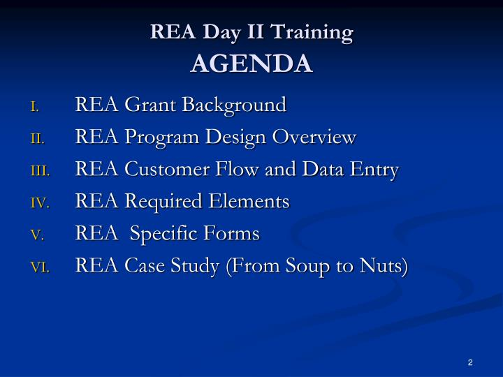Rea day ii training agenda