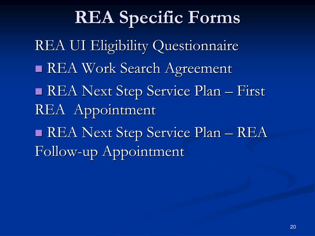 REA Specific Forms