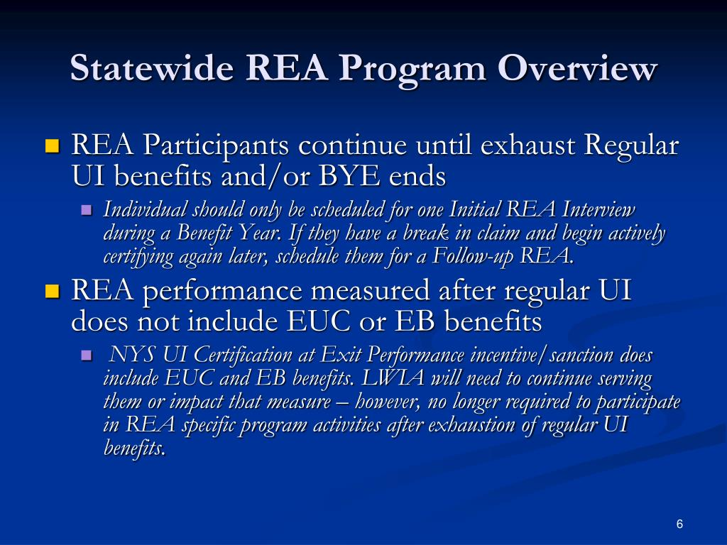 Statewide REA Program Overview