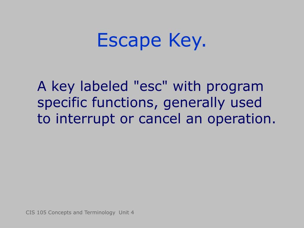 Escape Key.