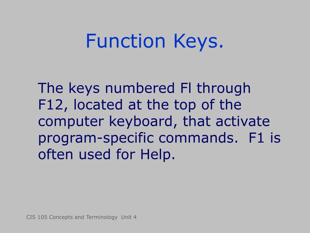 Function Keys.