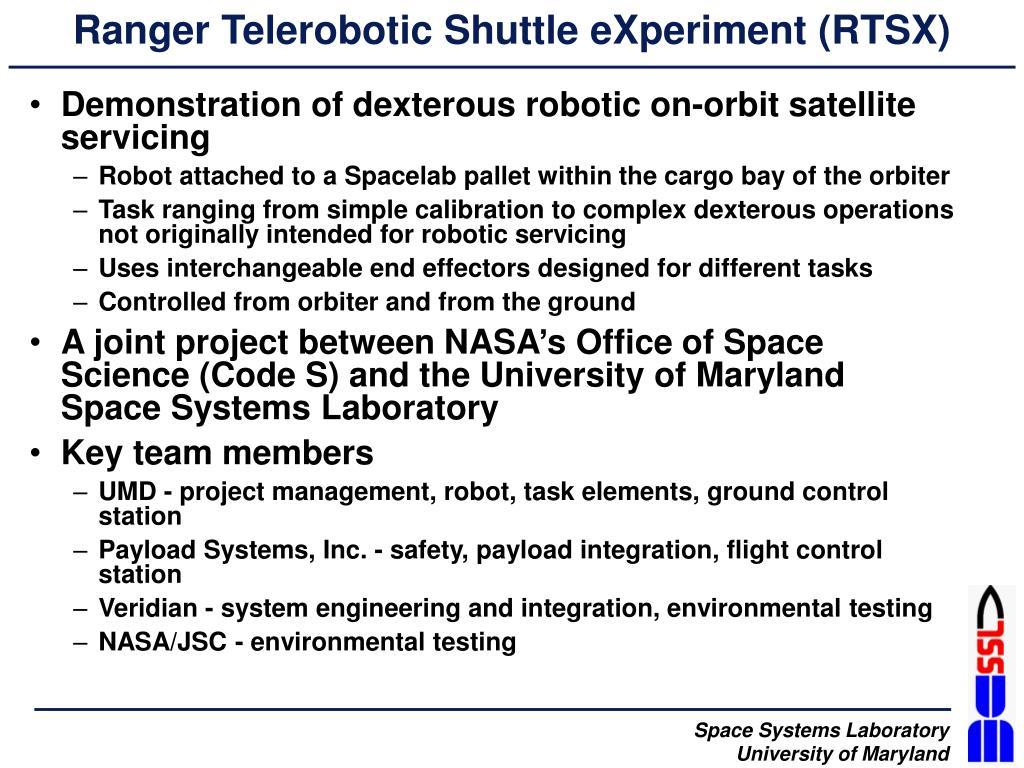 Ranger Telerobotic Shuttle eXperiment (RTSX)