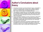 author s conclusions about theory