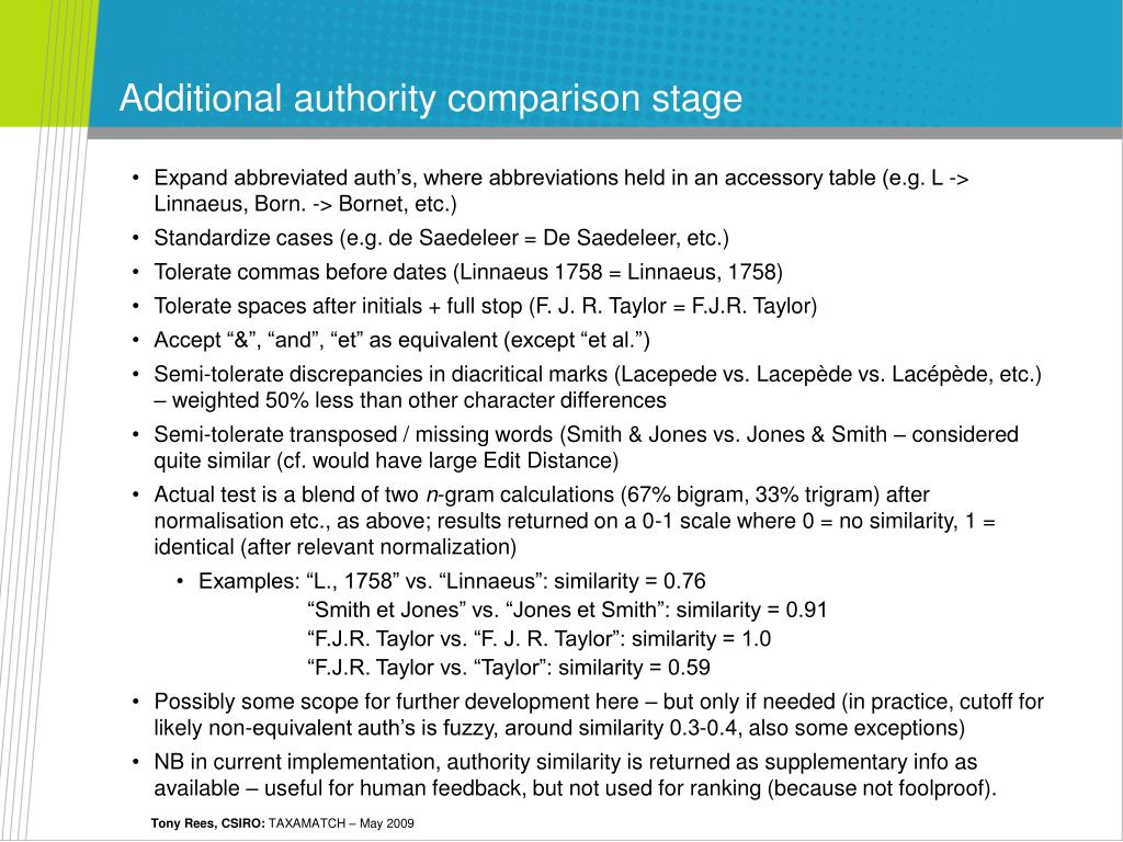 Additional authority comparison stage