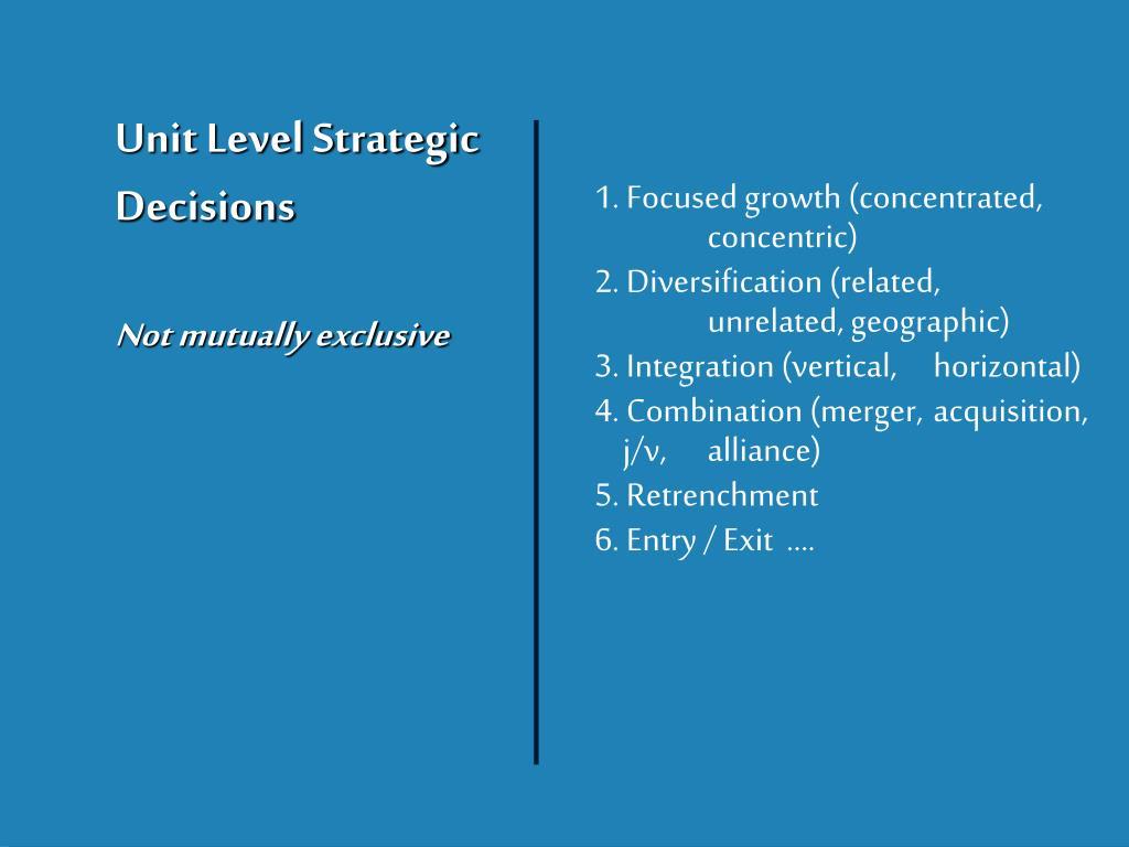 Unit Level Strategic