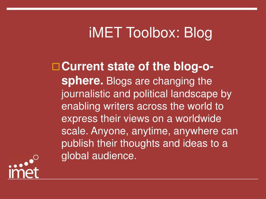 iMET Toolbox: Blog
