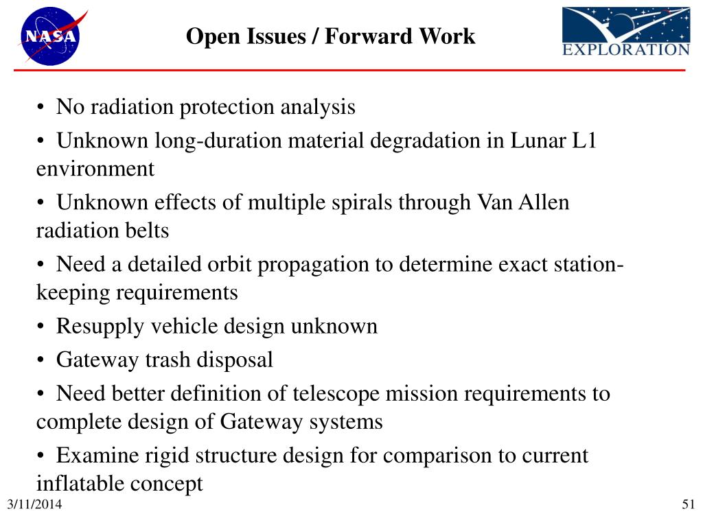 Open Issues / Forward Work