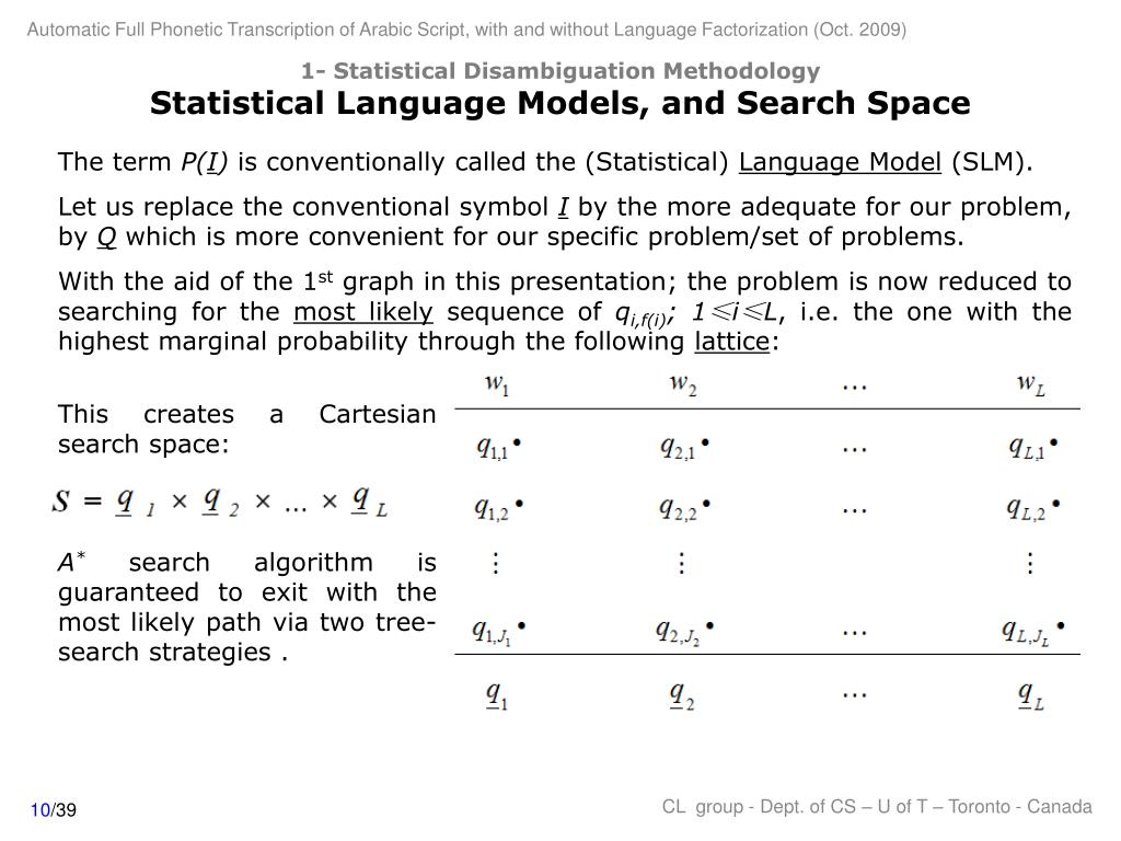 1- Statistical Disambiguation Methodology