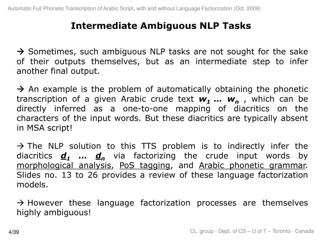 Intermediate Ambiguous NLP Tasks