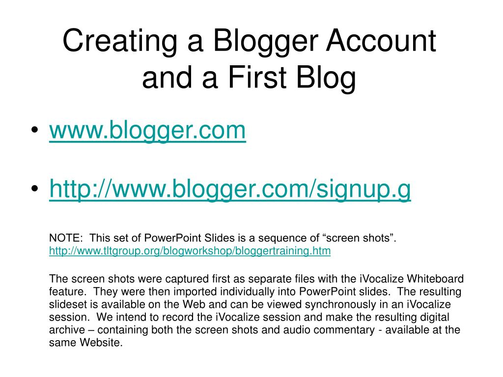 creating a blogger account and a first blog l.