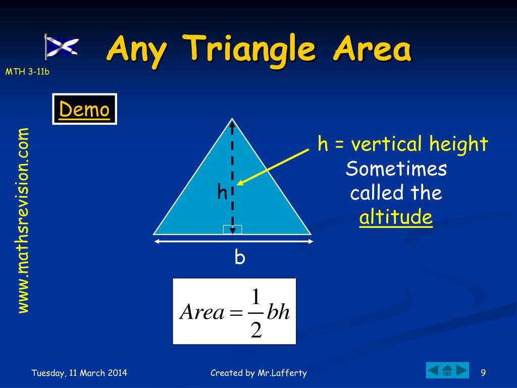 h = vertical height