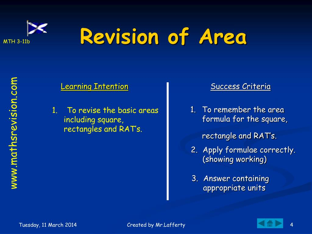 Revision of Area