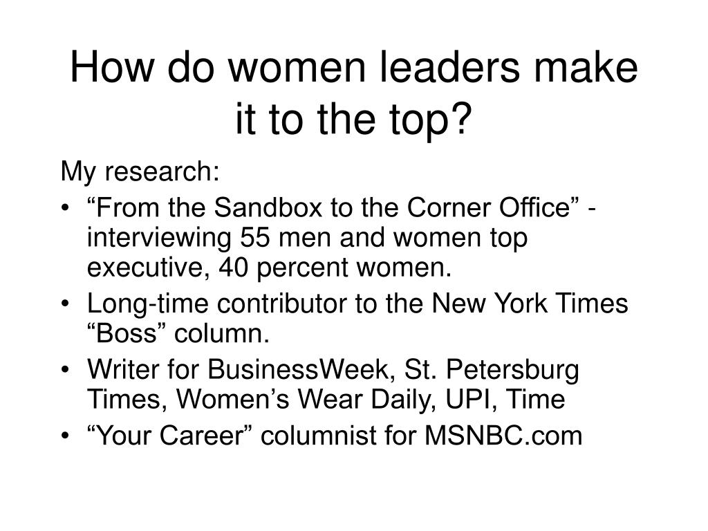 How do women leaders make it to the top?