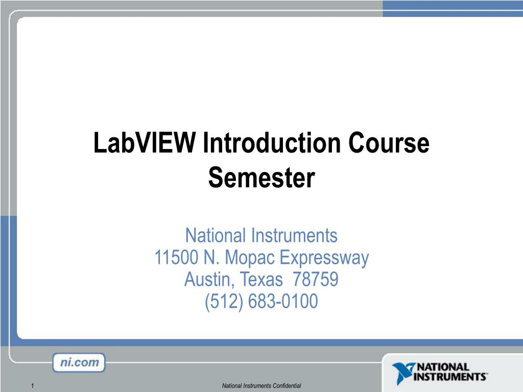 PPT - LabVIEW Introduction Course Semester PowerPoint