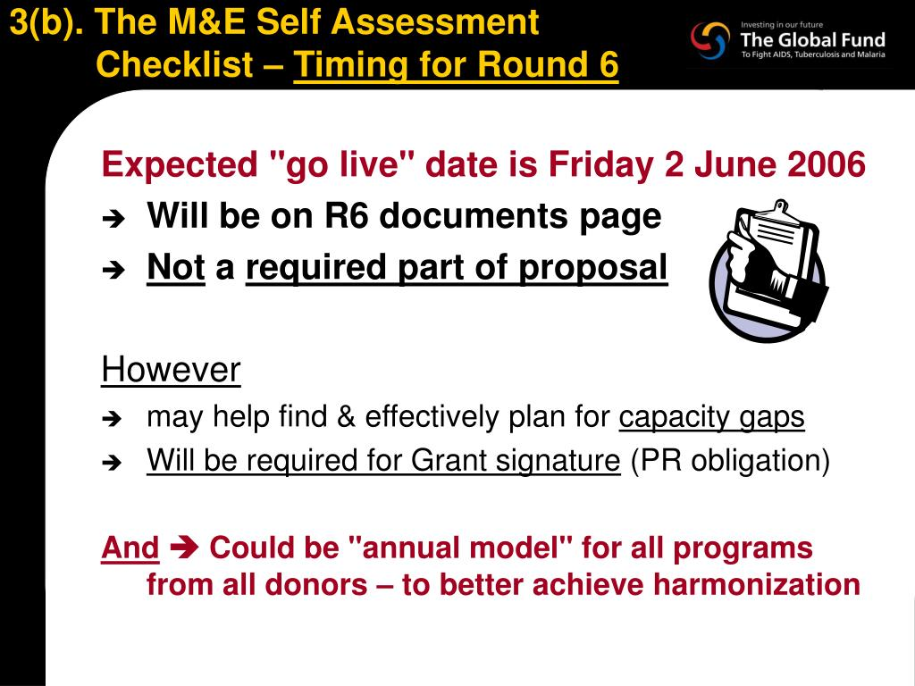 3(b). The M&E Self Assessment Checklist –