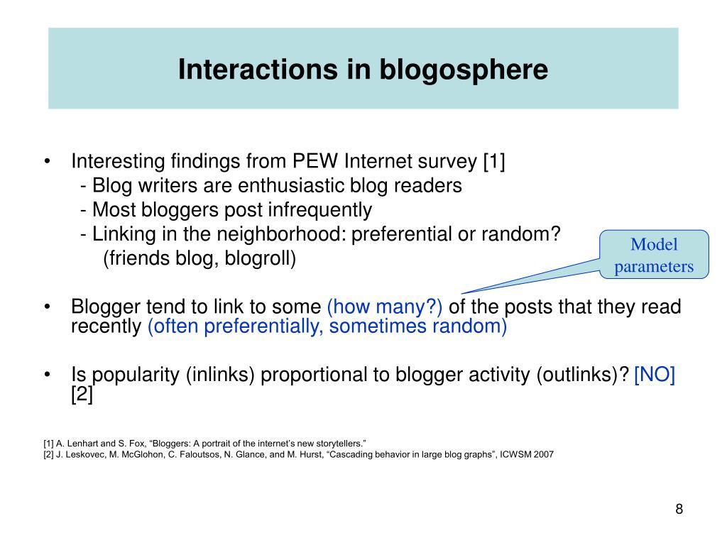 Interactions in blogosphere