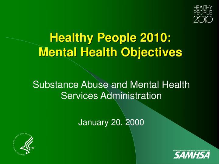 healthy people 2010 mental health objectives n.