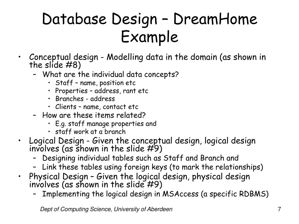 Database Design – DreamHome Example